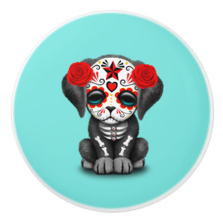 Red Day of the Dead Baby Puppy Dog Ceramic Knob