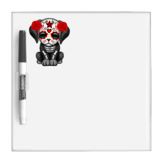 Red Day of the Dead Baby Puppy Dog Dry Erase Board
