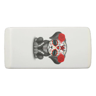 Red Day of the Dead Baby Puppy Dog Eraser