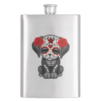 Red Day of the Dead Baby Puppy Dog Hip Flask