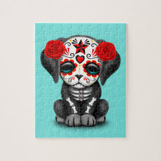 Red Day of the Dead Baby Puppy Dog Jigsaw Puzzle