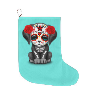 Red Day of the Dead Baby Puppy Dog Large Christmas Stocking