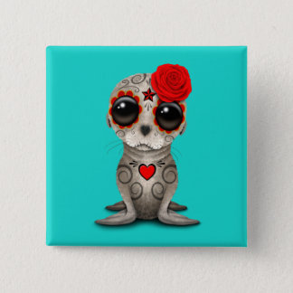 Red Day of the Dead Baby Sea Lion 15 Cm Square Badge