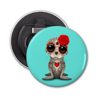 Red Day of the Dead Baby Sea Lion Bottle Opener