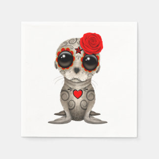 Red Day of the Dead Baby Sea Lion Disposable Serviettes