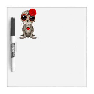 Red Day of the Dead Baby Sea Lion Dry Erase Board