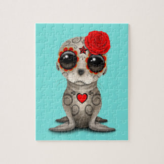 Red Day of the Dead Baby Sea Lion Jigsaw Puzzle