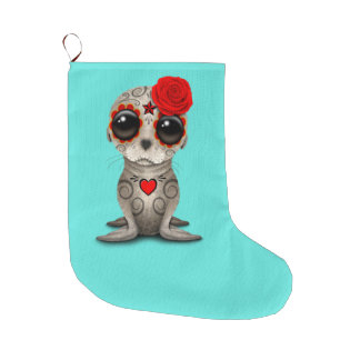 Red Day of the Dead Baby Sea Lion Large Christmas Stocking