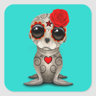 Red Day of the Dead Baby Sea Lion Square Sticker