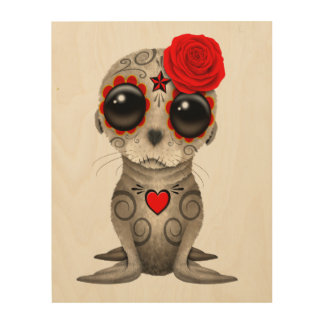 Red Day of the Dead Baby Sea Lion Wood Wall Art