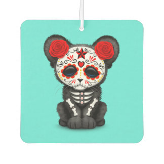 Red Day of the Dead Black Panther Cub Car Air Freshener