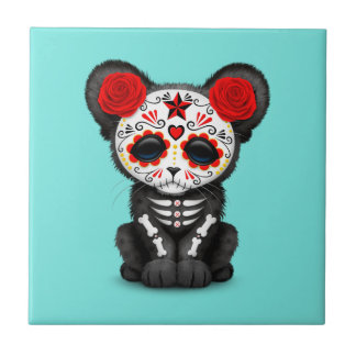 Red Day of the Dead Black Panther Cub Ceramic Tile