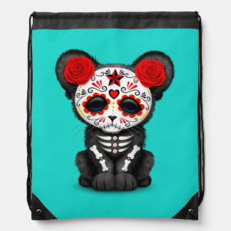 Red Day of the Dead Black Panther Cub Drawstring Bag