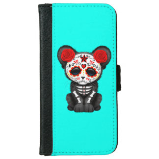Red Day of the Dead Black Panther Cub iPhone 6 Wallet Case