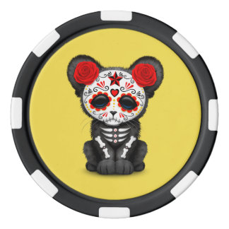 Red Day of the Dead Black Panther Cub Poker Chips