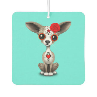 Red Day of the Dead Chihuahua Car Air Freshener
