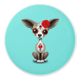 Red Day of the Dead Chihuahua Ceramic Knob