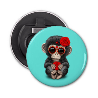 Red Day of the Dead Chimp Bottle Opener