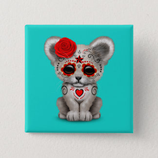 Red Day of the Dead Lion Cub 15 Cm Square Badge