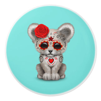 Red Day of the Dead Lion Cub Ceramic Knob