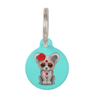 Red Day of the Dead Lion Cub Pet ID Tag