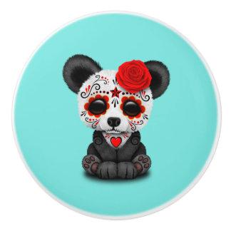 Red Day of the Dead Panda Ceramic Knob