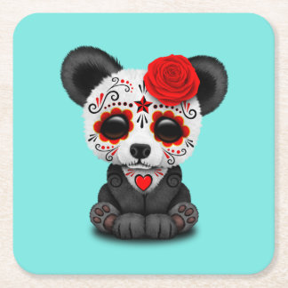 Red Day of the Dead Panda Square Paper Coaster