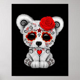 Red Day of the Dead Sugar Skull Bear Black Poster