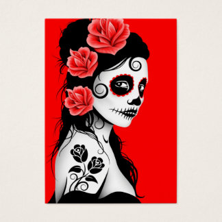 Red Day of the Dead Sugar Skull Girl