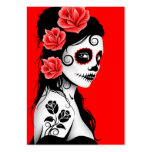 Red Day of the Dead Sugar Skull Girl Business Card Templates