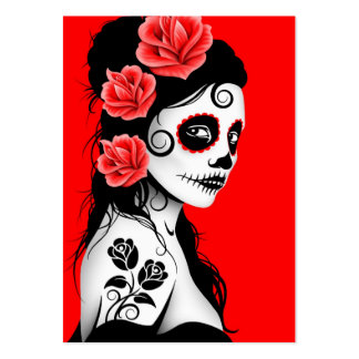 Red Day of the Dead Sugar Skull Girl Pack Of Chubby Business Cards
