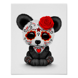 Red Day of the Dead Sugar Skull Panda on White Poster