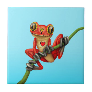 Red Day of the Dead Sugar Skull Tree Frog Small Square Tile