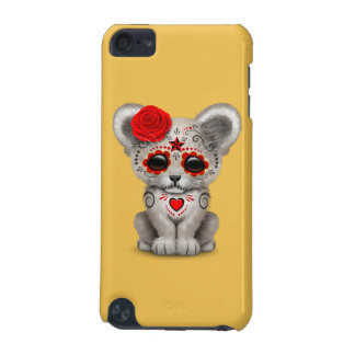 Red Day of the Dead Sugar Skull White Lion Cub iPod Touch 5G Covers