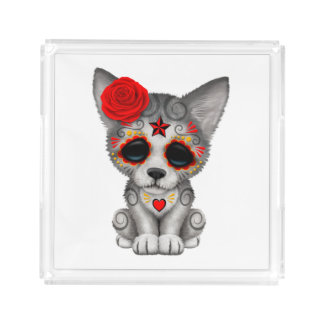 Red Day of the Dead Wolf Cub Acrylic Tray