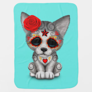 Red Day of the Dead Wolf Cub Baby Blanket