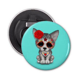 Red Day of the Dead Wolf Cub Bottle Opener
