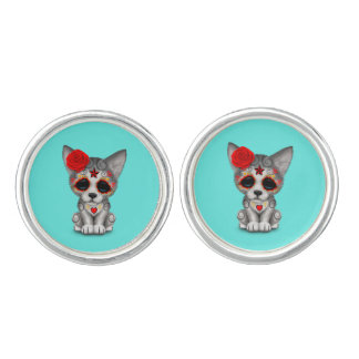 Red Day of the Dead Wolf Cub Cuff Links