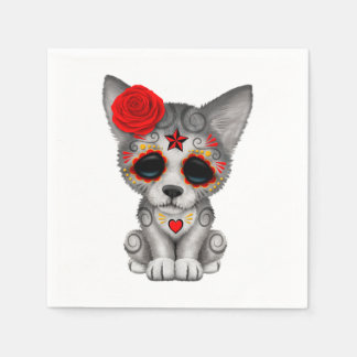 Red Day of the Dead Wolf Cub Disposable Serviette