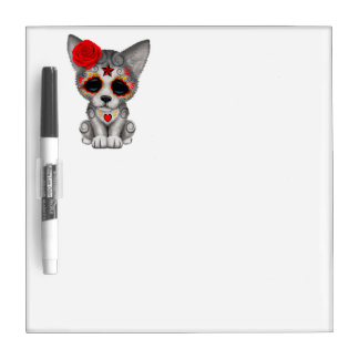 Red Day of the Dead Wolf Cub Dry Erase Board