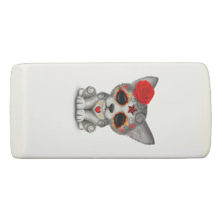 Red Day of the Dead Wolf Cub Eraser