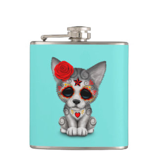 Red Day of the Dead Wolf Cub Hip Flask