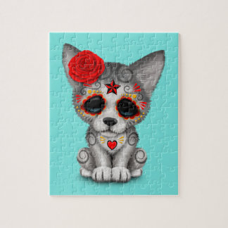 Red Day of the Dead Wolf Cub Jigsaw Puzzle