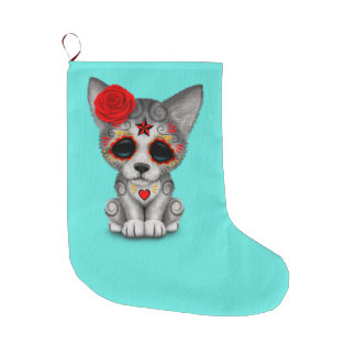 Red Day of the Dead Wolf Cub Large Christmas Stocking