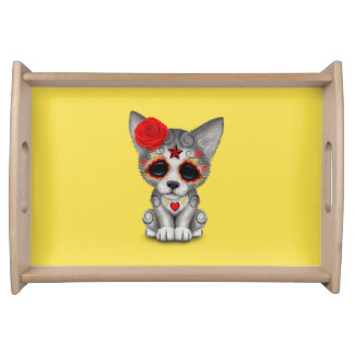 Red Day of the Dead Wolf Cub Serving Tray
