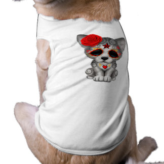 Red Day of the Dead Wolf Cub Shirt