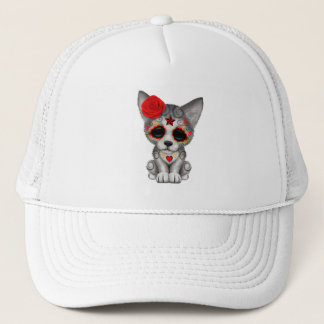 Red Day of the Dead Wolf Cub Trucker Hat