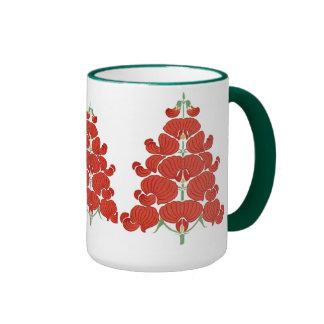 Red Deco Flower Christmas Tree Mugs