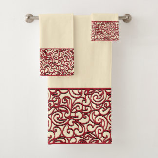 Red Deco Swirl Bath Towel Set