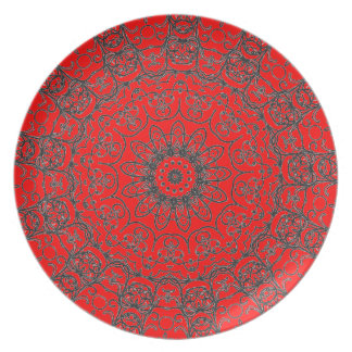 Red Decorative Pattern Floral Bride Black Lace Plate